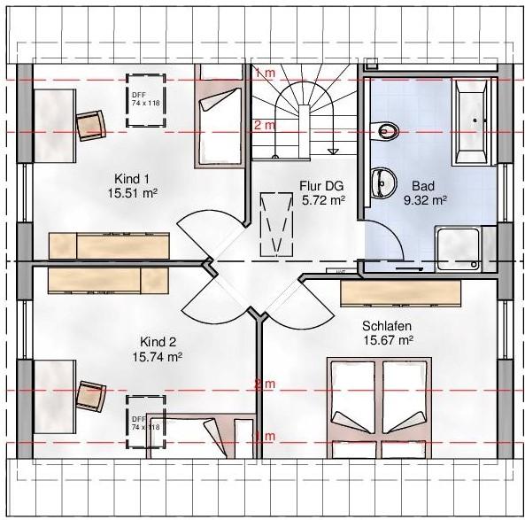 Haus Union - Haustypen - Bozen - Grundriss - OG