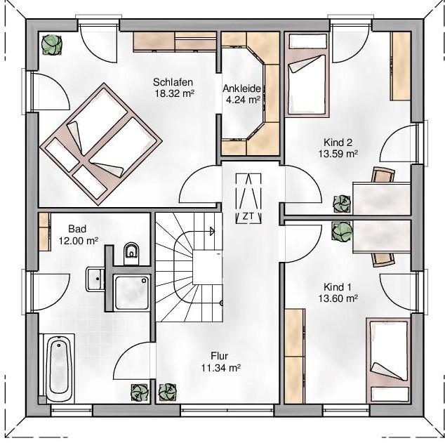 Haus Union - Haustypen - Florenz - Grundriss - OG