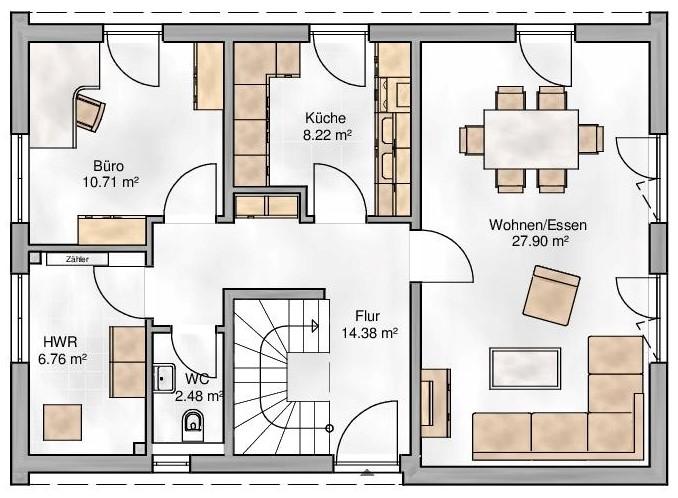 Haus Union - Haustypen - Milano - Grundriss - EG