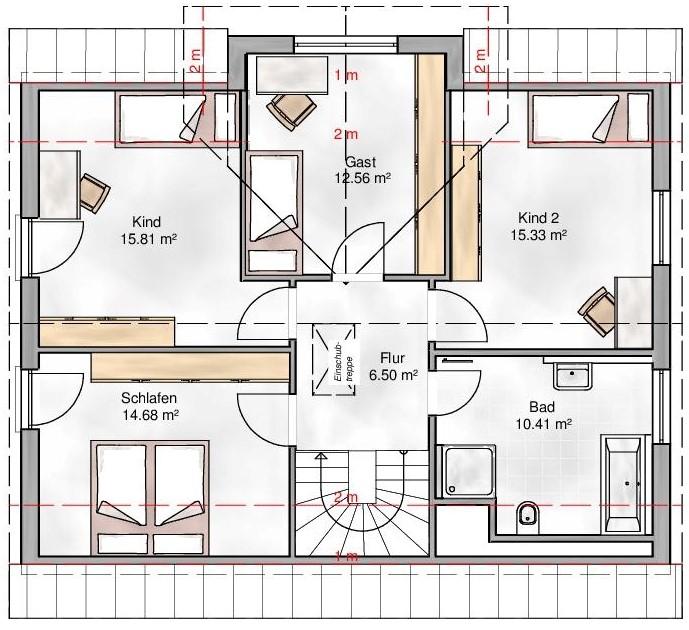 Haus Union - Haustypen - Pisa - Grundriss - DG