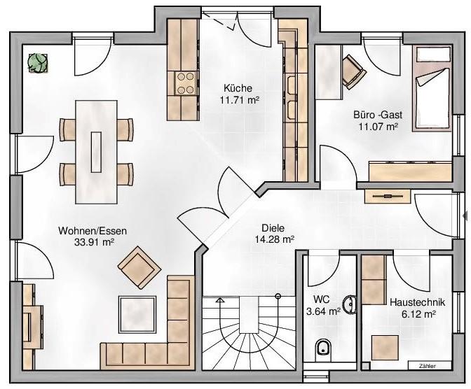 Haus Union - Haustypen - Pisa - Grundriss - EG
