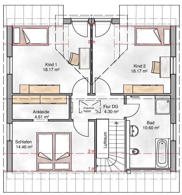 Haus Union - Haustypen - Trento- Grundriss - OG
