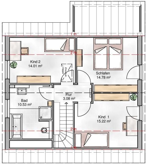 Haus Union - Haustypen - Verona- Grundriss - DG